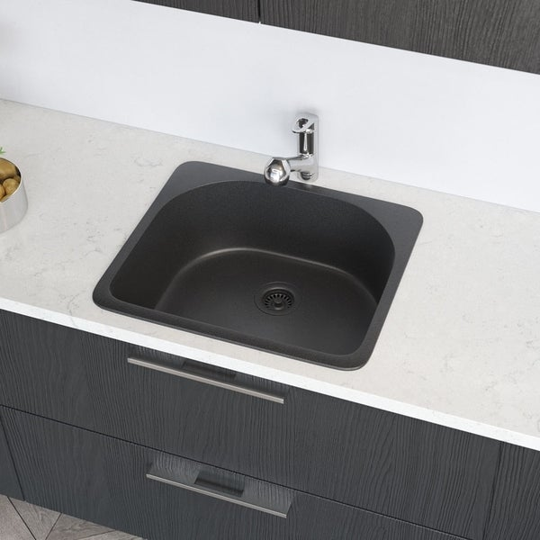 R3-2005 D-Bowl Quartz Sink, Grid, and Matching Colored Flange