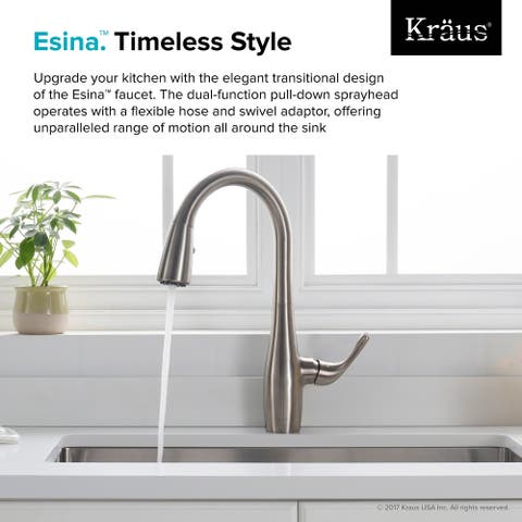 Kraus KPF-1670 Esina 1-Handle 2-Function Pull Down Kitchen Faucet, Spot Free Stainless Steel and Matte Black finishes