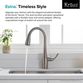 KRAUS Esina Single Handle Pull Down Kitchen Faucet with Dual Function Sprayhead in all-Brite Spot Free Stainless Steel Finish