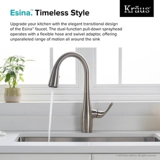 KRAUS Esina Single Handle Pull Down Kitchen Faucet With Dual Function  Sprayhead In All Brite
