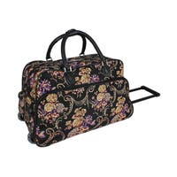 World Traveler Classic Floral 21-Inch Carry-On Rolling Duffel Bag