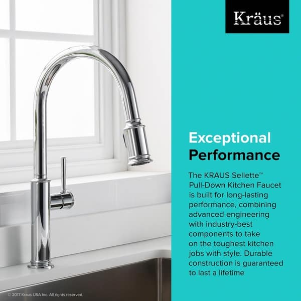 Kraus Sellette Single Handle Pull Down Kitchen Faucet With Dual Function Sprayhead In Stainless Steel As Is Item Overstock 23049439