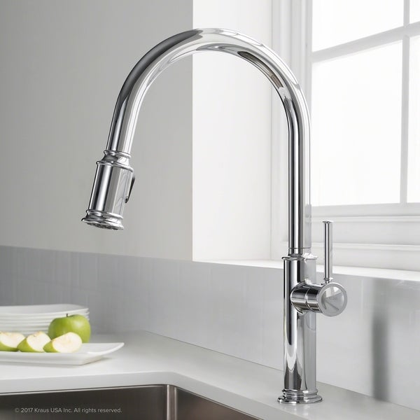 KRAUS Sellette Single Handle Pull Down Kitchen Faucet with Dual ...