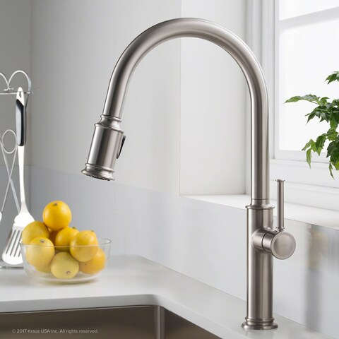 KRAUS Sellette Single Handle Pull Down Kitchen Faucet with Dual Function Sprayhead