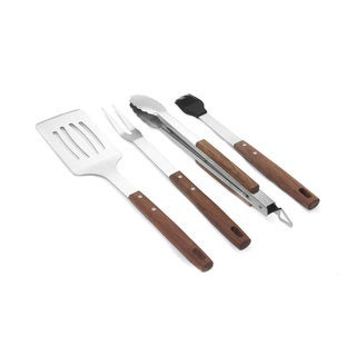 4 Piece Stainless Steel Barbecue Tool Set with Rosewood Handles