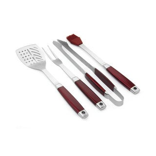 4 Piece Stainless Steel Barbecue Tool Set with Red Handles