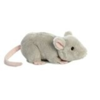 """8"""" Grey and Pink Mini Flopsie Toy Mouse Plush Toy - Silver"""