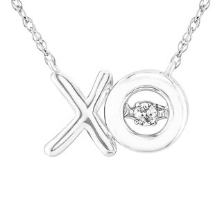 Sterling Silver 1/20 CT. TW Moving Diamond 'XO' Necklace