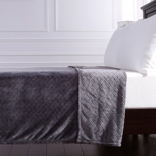 Berkshire Blanket Basket Weave Plush Bed Blanket