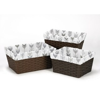 Sweet Jojo Designs Grey and White Mod Arrow Collection Basket Liners (Set of 3)