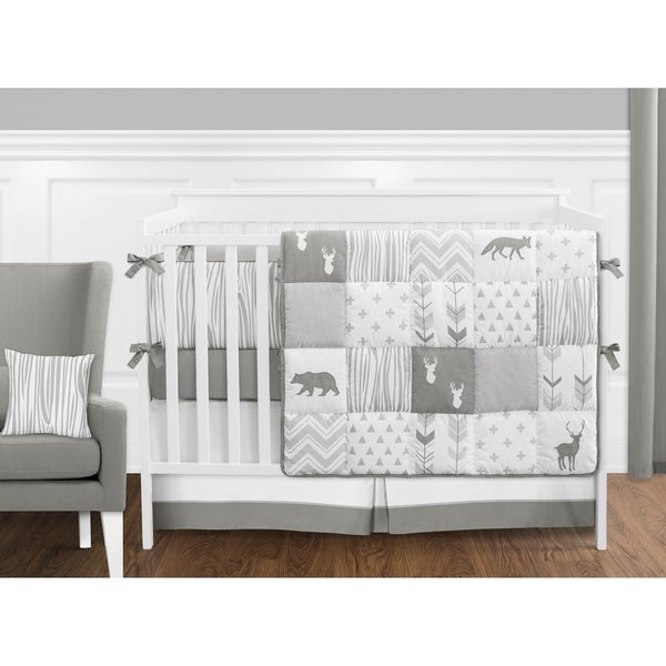 Sweet Jojo Designs Grey and White Woodsy Collection 9-piece Crib Bedding Set