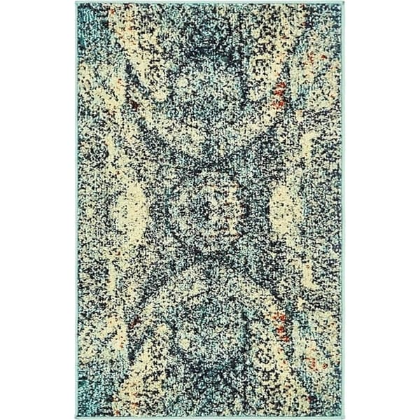 Arte Blue/Brown Medallion Area Rug (2'2 x 3')