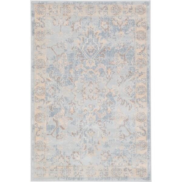 Kensington Light Blue/Beige Floral Area Rug (2'2 x 3')