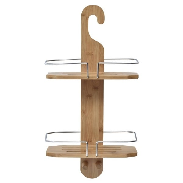 Evideco Bamboo Bath Wall Shower Tub Hanging Shower Caddy 2 Shelves ...