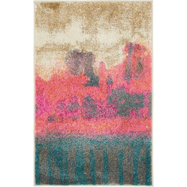 Stockholm Pink/Cream Abstract Area Rug (2' x 3')