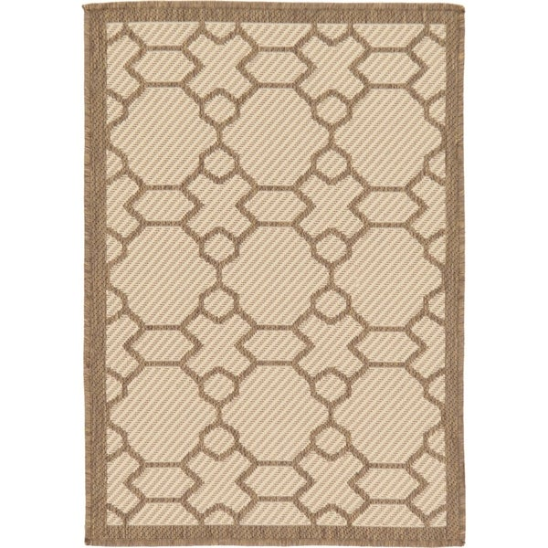 Outdoor Beige/Cream Geometric Area Rug (2'2 x 3')