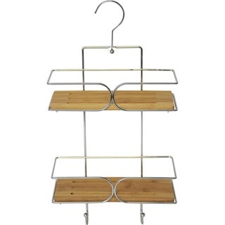 Evideco Wall Shower Caddy Bamboo Shelves with Pivoting Hanger Chrome