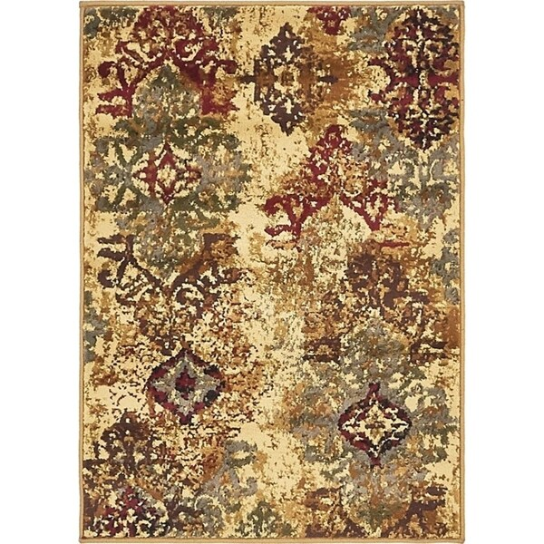Coffee Shop Beige/Brown Abstract Area Rug (2'2 x 3')