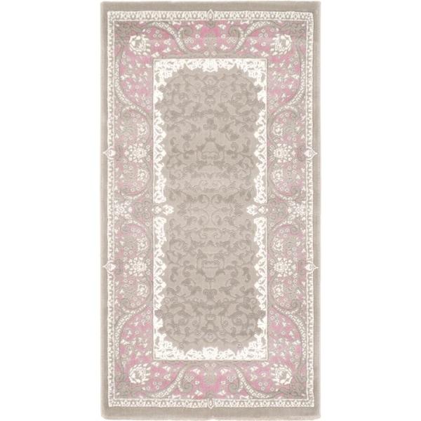 Versailles Grey/Pink Floral Area Rug (2'7 x 5')