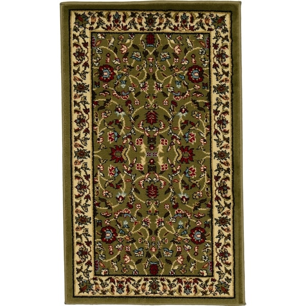 Agra Olive/Tan Floral Area Rug (2' x 3'3)