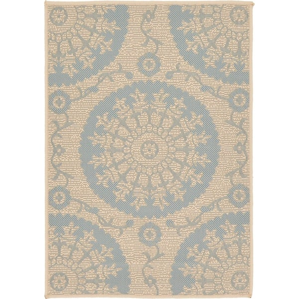 Outdoor Beige/Blue Abstract Area Rug (2'2 x 3')