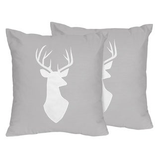 Sweet Jojo Designs Decorative Accent Throw Pillows for the Grey and White Woodsy Collection (Set of 2)