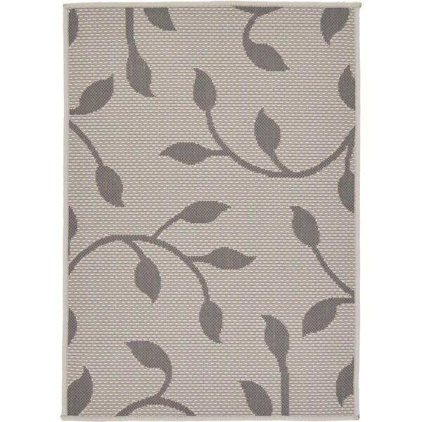 Outdoor Grey/Cream Abstract Area Rug (2'2 x 3')