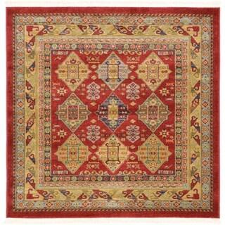 Serapi Red Southwestern Geometric Square Rug (4' x 4')