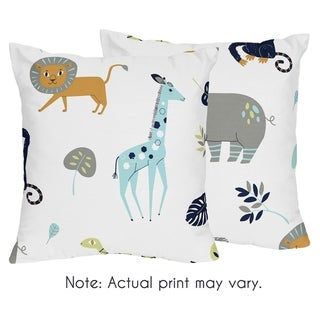 Sweet Jojo Designs Decorative Accent Throw Pillows for the Mod Jungle Collection (Set of 2)