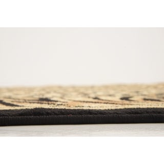 Safari Light Brown/Black Abstract Round Rug (4' x 4')