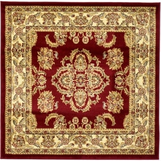 Agra Red  Floral Square Rug (4' x 4')