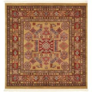 Serapi Beige/Red Geometric Square Rug (4' x 4')