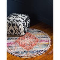 Unique Loom Monet Arte Round Rug - 4' x 4'