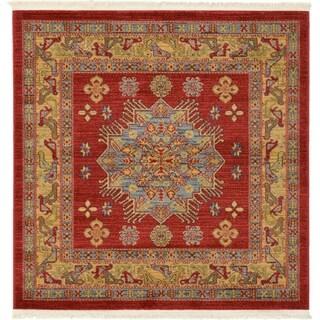 Serapi Red/Blue Floral Square Rug (4' x 4')