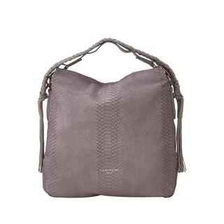 Liebeskind Berlin Riverdale Handcut Koi Beige Python Embossed Leather Hobo Handbag