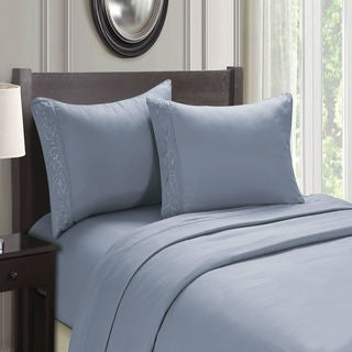Cozy Homes Ultra Soft Microfiber 4-Piece Embroidery Sheet Set