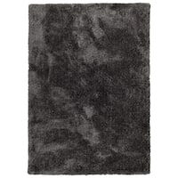 Hand-Tufted Silky Shag Charcoal Polyester Rug - 2' x 3'