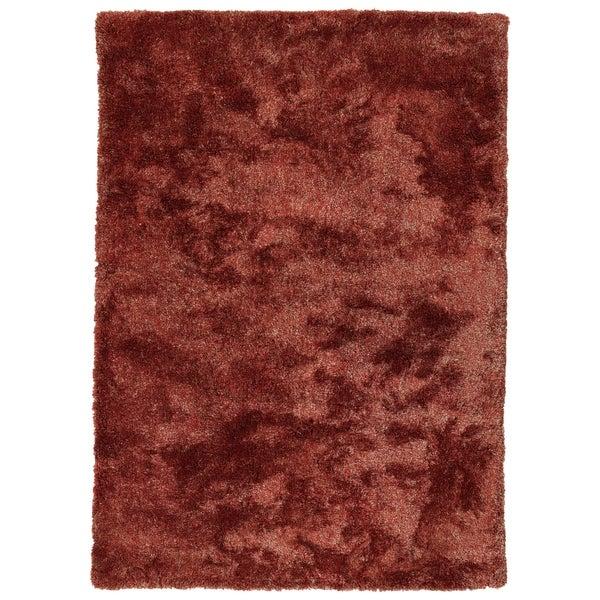 Hand-Tufted Silky Shag Cinnamon Polyester Rug - 2' x 3'