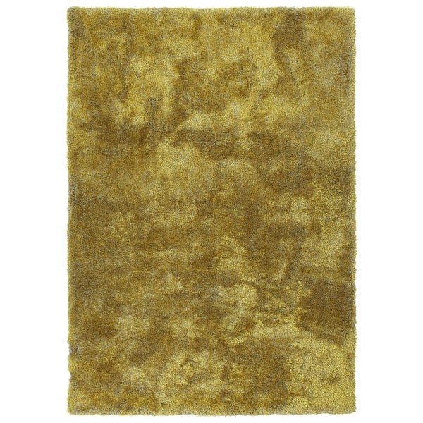 Hand-Tufted Silky Shag Lime Green Polyester Rug - 2' x 3'