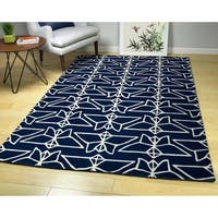 Hand-Tufted Zen Navy Wool Rug - 2' x 3'