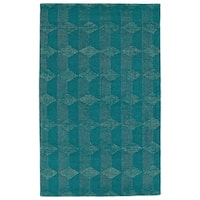 Hand-Tufted Homa Teal Wool Rug - 2' x 3'