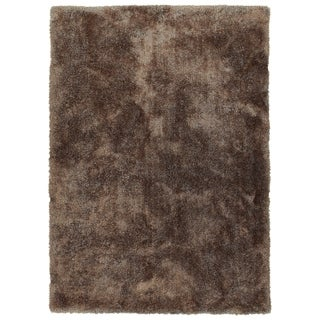 Hand-Tufted Silky Shag Brown Polyester Rug - 2' x 3'