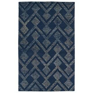 Hand-Tufted Homa Navy Wool Rug - 2' x 3'