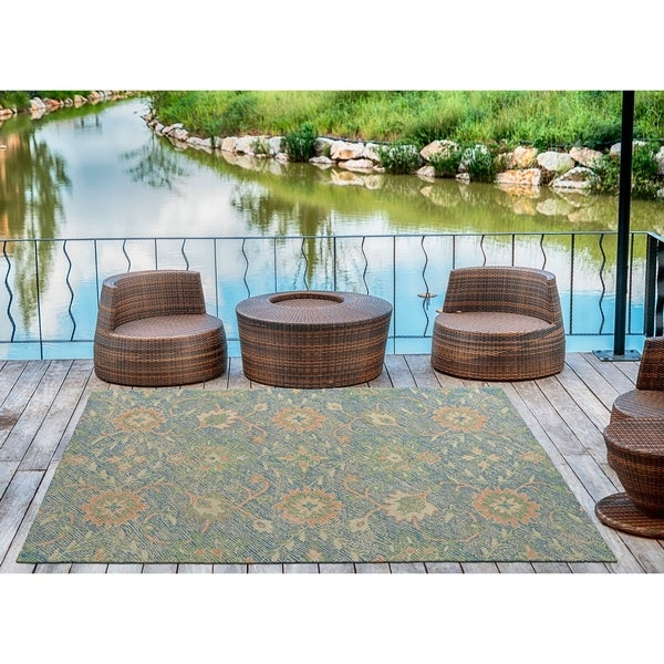 Indoor/Outdoor Hand-Tufted Robinson Blue Polyester Rug - 2' x 3'