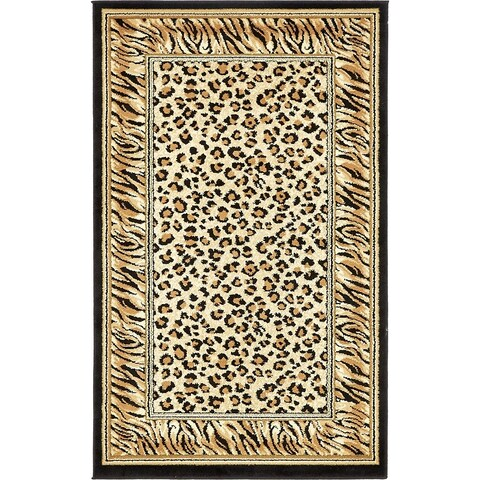 "Unique Loom Cheetah Wildlife Area Rug - 3'3"" x 5'3"""
