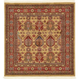 Serapi Beige/Red Abstract Square Rug (4' x 4')