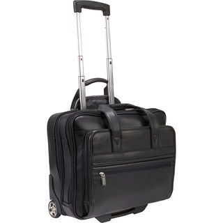 Kenneth Cole Reaction Genuine Leather Double Compartment Rolling 15.4-inch Laptop Briefcase