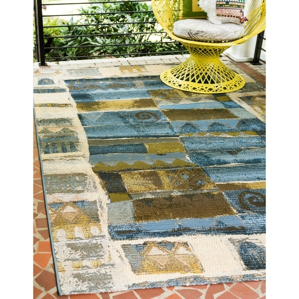 Shop Unique Loom Glyph Outdoor Area Rug 4 X 6 On