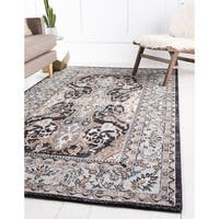 Tradition Charcoal/Cream Floral Area Rug (5' x 8')