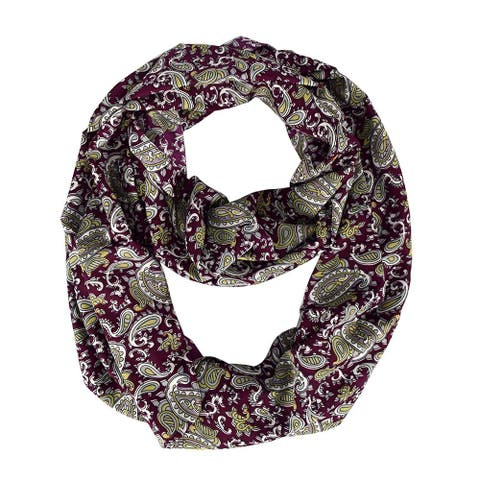 Peach Couture Women's Rainbow Paisley Maroon Infinity Loop Scarf - Medium